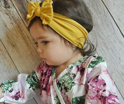 Baby Girls Bow Bun Turban Headband Hair band Head Wrap Cute Kids Plain Stretch 5