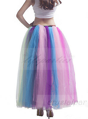 Women's Rainbow Long Petticoat Underskirt Colorful Skirts Slips Net Tutu Dress 3