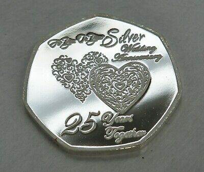 25th SILVER WEDDING ANNIVERSARY Fine Silver Commemorative. Gift/Present 25 Years 4