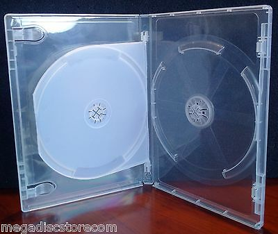 10 Pk Viva Elite 14mm DVD Case Double Super Clear 2 Discs Box Holder with Flap