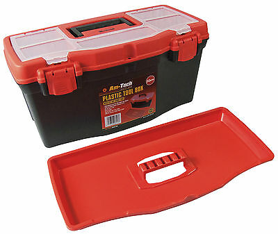 """19"""" Strong Durable Plastic Lockable Tool Box Case DIY Hobby Storage Compartments 2"""