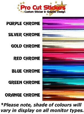 Chrome Colours Custom Text Font Wording Personalised Sticker Decal fonts 31-40 2