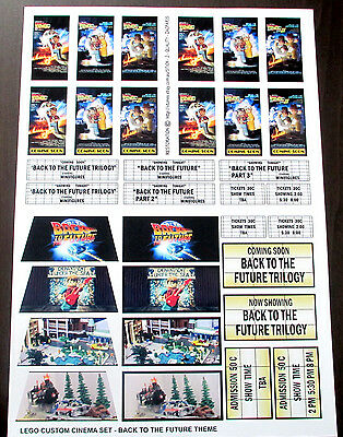 CUSTOM CINEMA STICKER SET for Lego 10232 10184 - BACK TO THE FUTURE TRILOGY 2