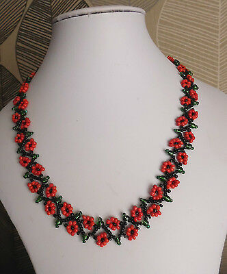 Floral FLOWER seed BEAD necklace weave red black BOHO 16-18 glass beaded