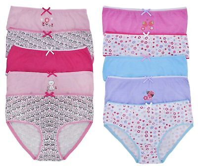 Girls 5 Pack Pairs Briefs Set Knickers Kids Multipack 100% Cotton Underwear Size 12