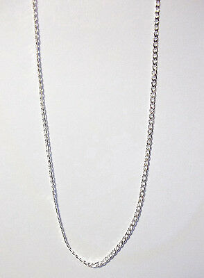"Beautiful, Silver  2 mm Curb Chain Necklace & gift bag. 30"" long. 7"
