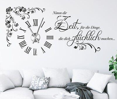 WANDUHR WANDTATTOO UHR mit Uhrwerk Wandtatoo Wohnzimmer mit ...