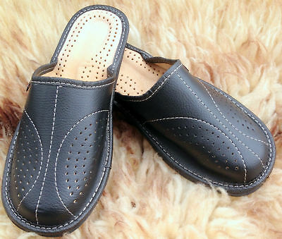 Mens Leather Slippers Slip On Shoes Moccasins Size 7 8 9 10 11 12 13 UK Mules 10