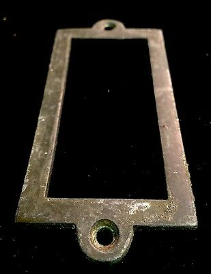 Antique Heavy brass name plaques , apothecary Draw Dresser Handle Knocker Bronze 2