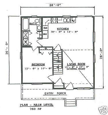 3 Bdrm 2 Bath 1300 SF Contemporary Cape Style House Building Plans