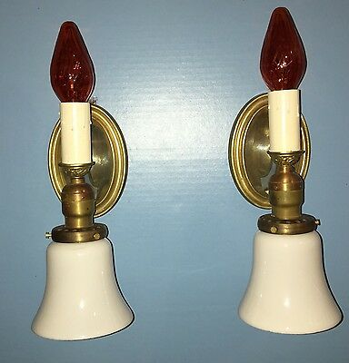 Pair 2 Candle & Glass Shade Wall Sconces Art Deco Beautiful Unique Rare 6