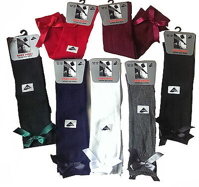 6 Girls Knee High School Bow Socks 80% cotton children kids All Size 1/3/6 Pairs 2