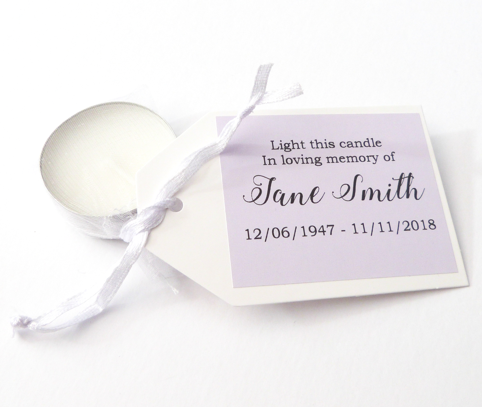Personalised Funeral Rememberance Tealight Candles In Memory Of Coloured Favour 3