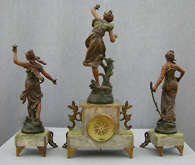 Imposing 19th Century Onyx Clock Garniture, Guillemain's Passage du gué, Japy 4