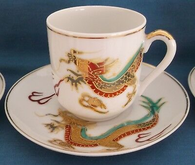 Vintage Japanese Satsuma Dragon Gold Porcelain Coffee Set Lithopane Geisha Girl 6