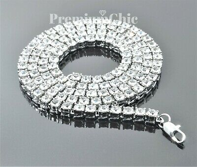Iced Out 14k White Gold Tennis Chain Choker Clear CZ Stone Mens Hip Hop Necklace 2