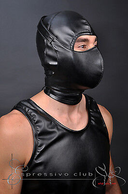 Ledermaske Vegan mit Mundschutzmaske bdsm Leder Hood Kopfmaske Gimp mask bondage 6