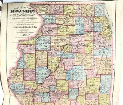 "Original 1871 2-Page Color Map of the State of Illinois 17"" x 28"" 2"