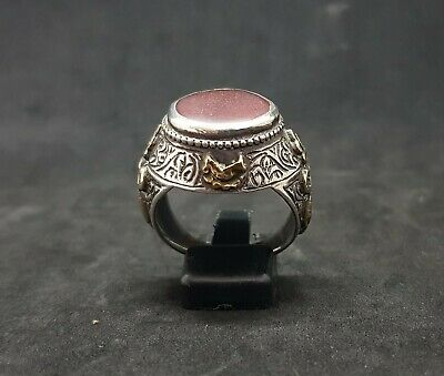 Beautiful Old Yemani Agate Stone Solid Silver And Gold Plated Unique Ring #H85 7