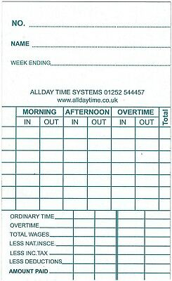 Clock Cards - Weekly Clocking in Time Recorder Attendance Cards (85x140mm) 2
