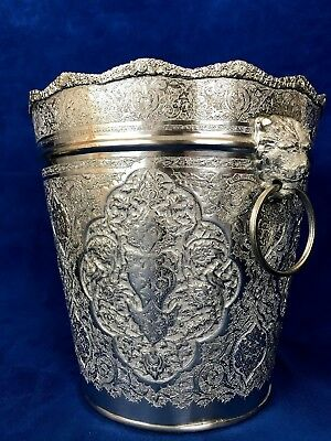 84 Silver Persian, Middle East, Arabic Chased Ice Bucket With Lion Head Handle 6