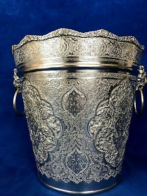 84 Silver Persian, Middle East, Arabic Chased Ice Bucket With Lion Head Handle 5