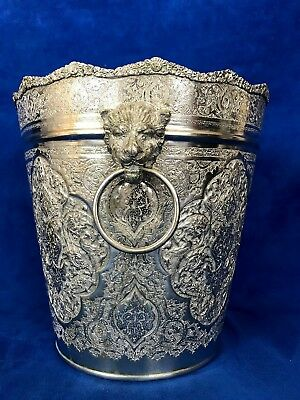 84 Silver Persian, Middle East, Arabic Chased Ice Bucket With Lion Head Handle 3