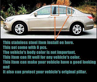 Made in USA Works with 2008-2012 Honda Accord Sedan 4 PC Stainless Steel Chrome Pillar Post Trim
