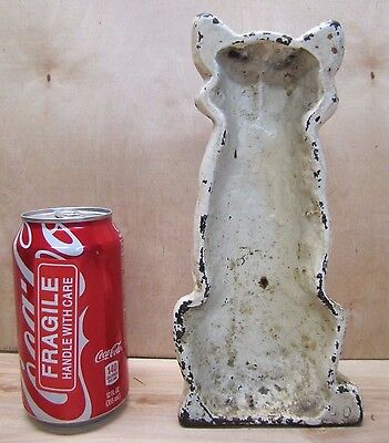 Antique Cast Iron Cat Doorstop Art orig old white painted surface green eyes