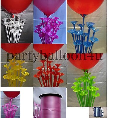 Party Balloon Sticks and Cups No Helium Choose 7 Colour & Quantity Birthday 8