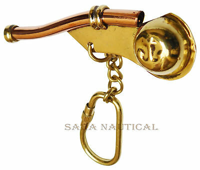 Nautical Bosutns Mariner Whistle Brass Boating Vintage Key Chain Brass Decor 3