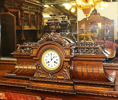 Antique Louis XVI Walnut French Fireplace Mantle Carved Lions w/ Original Clock 4
