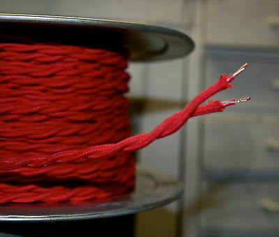 Red Cotton Cloth Covered Twisted Wire, Vintage Style Braided Lamp Power Cord USA