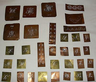 ANTIKE BUCHSTABEN KUPFER Schablone Monogramm Stickerei Aussteuer 54 ...