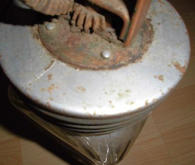 butterglas antik butter schleuder glas 2l D.R.G.M rest werbung bären marke label
