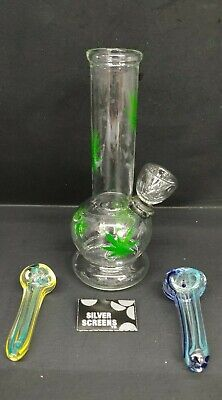 "Hookah Water Pipe Glass Bong 6"" inch, ""Multi GREEN LEAF With FREEBIES"" 3"