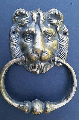 "Big Antique Vintage Style Brass Lion Head Door Knocker, Towel Ring 6 1/2"" # D2"