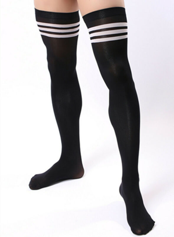 Men Soccer Thigh Stocks High Stockings Velvet Sport Striped Long Socks NEW HOT 4