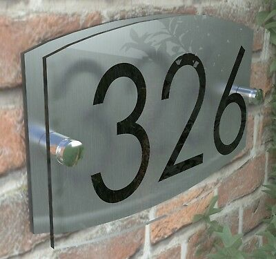 Contemporary House Sign Plaque Door Number 1 - 999 Personalised Name Plate 7