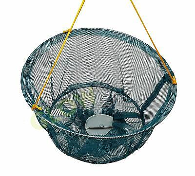 2 PACK HOOKZONLINE RECTANGULAR CRAB DROP NET with BAIT CLIP /& ROPE