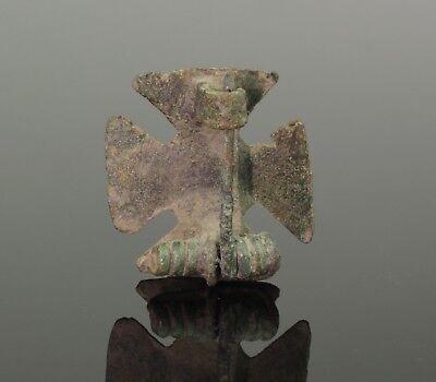 Ancient Roman Bronze Cross Plate Brooch 3Rd/4Th Ad 567 2