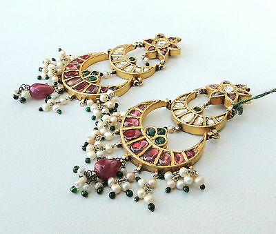 Vintage Antique 20K Gold Diamond Polki Ruby Emerald Pearl Earring Pair India 3