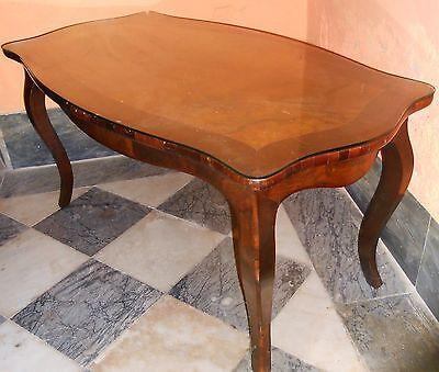 Tavolino Basso Antiquariato.Tavolo Tavolino Da Fumo Caffe Legno Intarsiato Ripiano Vetro Antiquariato