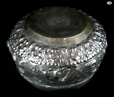 Rare Antique 1800s Large Heavy Burmese Myanmar Repoussé All Animals Silver Bowl 5