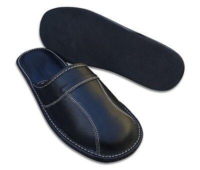 Herren LEDER Hausschuhe Pantoffeln Latschen Schlappen Schwarz, Gr. 40 - 48 3