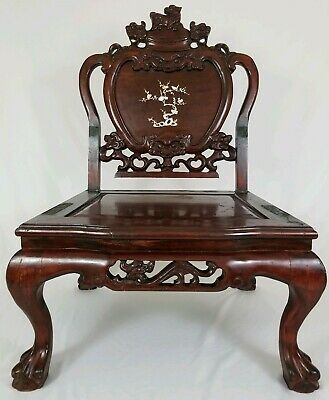 Antique Carved Rosewood Foo Dog MOP Inlaid Throne Chair Chinese Asian 2