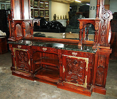Gothic Revival Walnut and Burl Grand Scale Sideboard/Back Bar c. 1890 #7416 6