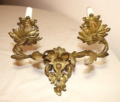 antique ornate dore bronze rococo wall mount electric candle holder fixture 2