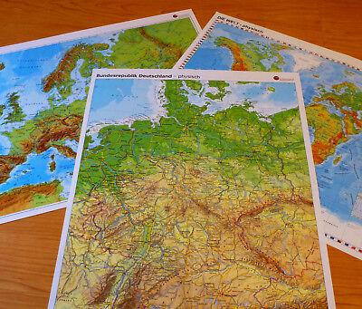 Sparpack Deutschland + Europa + Welt Landkarte Poster Wand Bild A2 Plakat Karte 5