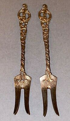 2 Vintage Ornate Sterling Silver Small Pickle Hors d'oeuvre Forks marked NORWAY 3